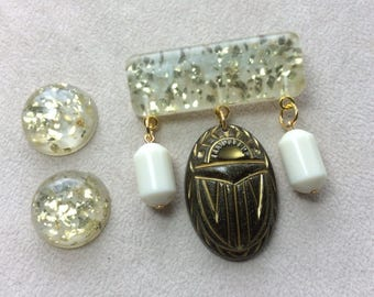 Mystic Nile - Confetti Lucite Style Deco Egyptian Revival Scarab / Beetle Brooch and Earring Set in Gold, Black, and Cream