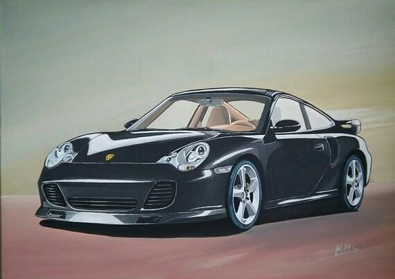 Porsche 996 Turbo >> Porsche 996 Turbo Acrylic Painting On Canvas Board