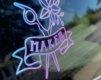 Maker decal, vinyl decal,  holographic