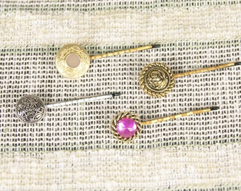 Hair Pins, Bridal Accessories, Vintage Bobby Pins, Button Bobby Set, Hair Clips, Bridesmaid Hair Accessories, Flower Hair Clips, Gold Pins
