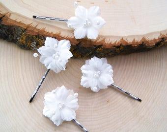Flower hair pins etsy white flower hair pins bridal hair accessories flower bobby pins bridesmaid gift children flower hair pins wedding accessories mightylinksfo