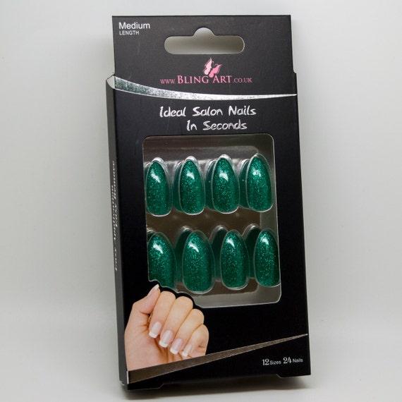 Aguja de arte Bling falso uñas Gel acrílico 24 verde brillo
