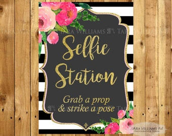 Selfie Station Instant Dowload Sign Black and White Striped 8x10-Stripes-Pink-Black and White-Printable-Custom-You Print
