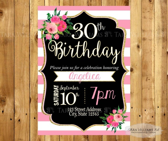 Pink White Striped Birthday Invitation Stripes Pink Black