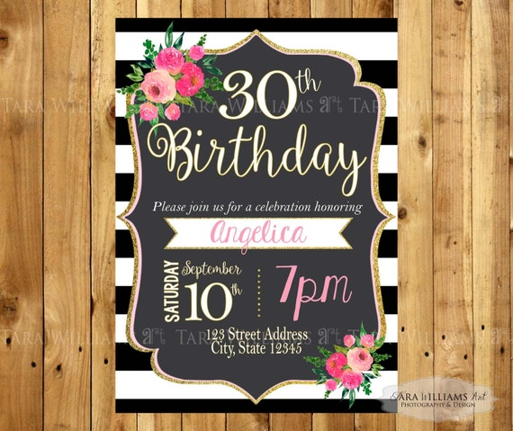 Black White Striped Birthday Invitation Stripes Pink Black