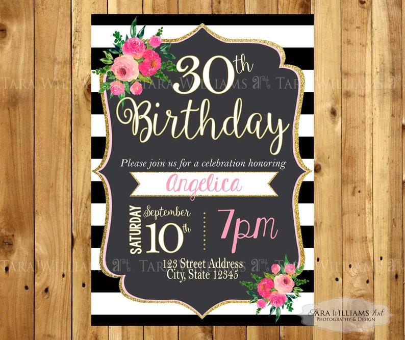 Black White Striped Birthday Invitation Stripes Pink