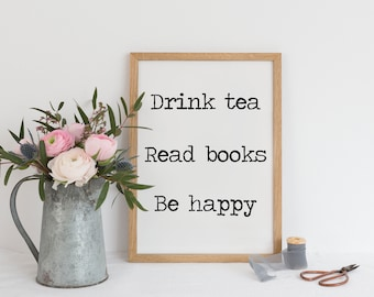 30 Off Sale Typographic Print Drink Tea Read Books Be Etsy