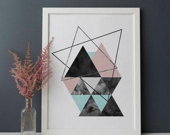 Geometric Printable, Abstract Geometric Minimalist Art, Scandinavian Printable, Mid Century Modern Print, Abstract Poster, Minimal Printable