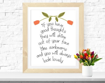 Roald Dahl Print 'If You Have Good Thoughts' Inspirational Roald Dahl Quote Printable Wall Art Bohemian Print Sunbeams Quote Lovely Quote