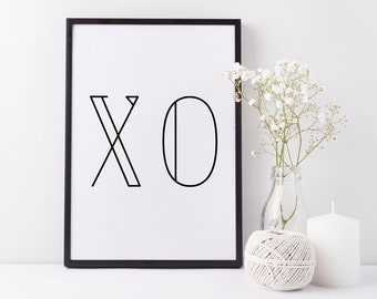30% OFF SALE Typographic Print 'XO' Wall Art Print Scandinavian Design Black White Poster Hugs and Kisses Wall Decor Inspirational Quote Art