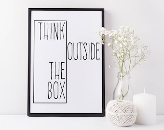 """Printable Art Inspirational Print """"Think Outside The Box"""" Typography Quote Art Home Decor Motivational Poster Scandinavian Design Wall Art"""