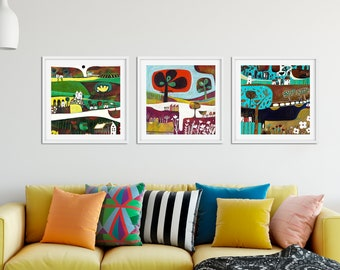 Living Room Wall Art Set Of 3 Paintings, Square Giclee Prints, Set Of 3  Paintings, Gift For Couple, Set Of 3 Art Prints, Whimsical Landscape