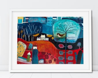 Large Landscape Painting Print for Living Room, Red and Blue Art Print, Colourful wall decor, Giclee Print Wall Art, Christmas Decoration