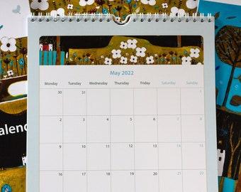 2022 Wall Calendar, A4 Wall Calendar 2022, Monthly Art Calendar 2022, Unique Planner UK, Ready to Hang Planner, Christmas Gift New Year gift