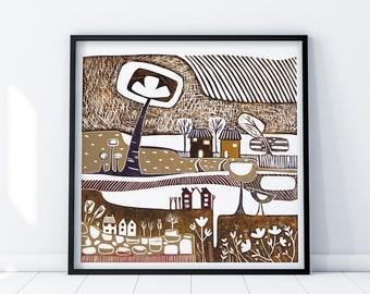 35 x 35 cm Lino Print Art, Square Giclee Print, Colourful Home Decoration, Whimsical Wall Art Print, Housewarming Gift, Colourful Home Decor