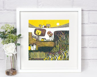 Small Lino Print Art, Linocut Print, Yellow Purple Wall Art Print , Square Wall Art Print, Print for Framing Giclee print, Mother's Day gift