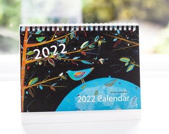 2022 Desk Calendar, Stand Up Desk Calendar 2022, Art Calendar 2022 UK, Monthly View Desktop Flip Calendar 2022, Office Christmas Gift, Xmas