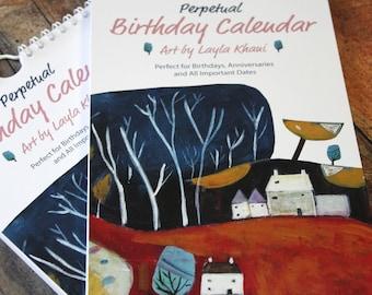 Birthday Calendar, Perpetual Birthday Calendar Book, Illustrated Wall Calendar, Perennial Modern Art Calendar Spiral, Birthday gift ideas