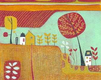 Original Linocut Print, Orange Landscape Art Print, Limited Edition Lino Print, Living Room Wall Art, Colourful Home Decor Housewarming Gift