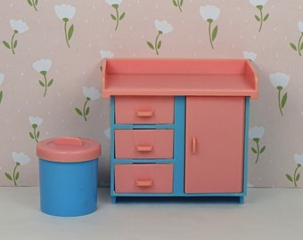 Dollhouse Vintage Changing Table Diaper Pail 1970s Nursery Furniture  Plastic Pastel