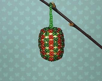 Vintage beaded Easter egg ornament 1960s green orange
