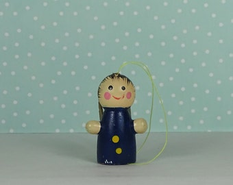 Vintage angel Christmas ornament blue gold 1970s
