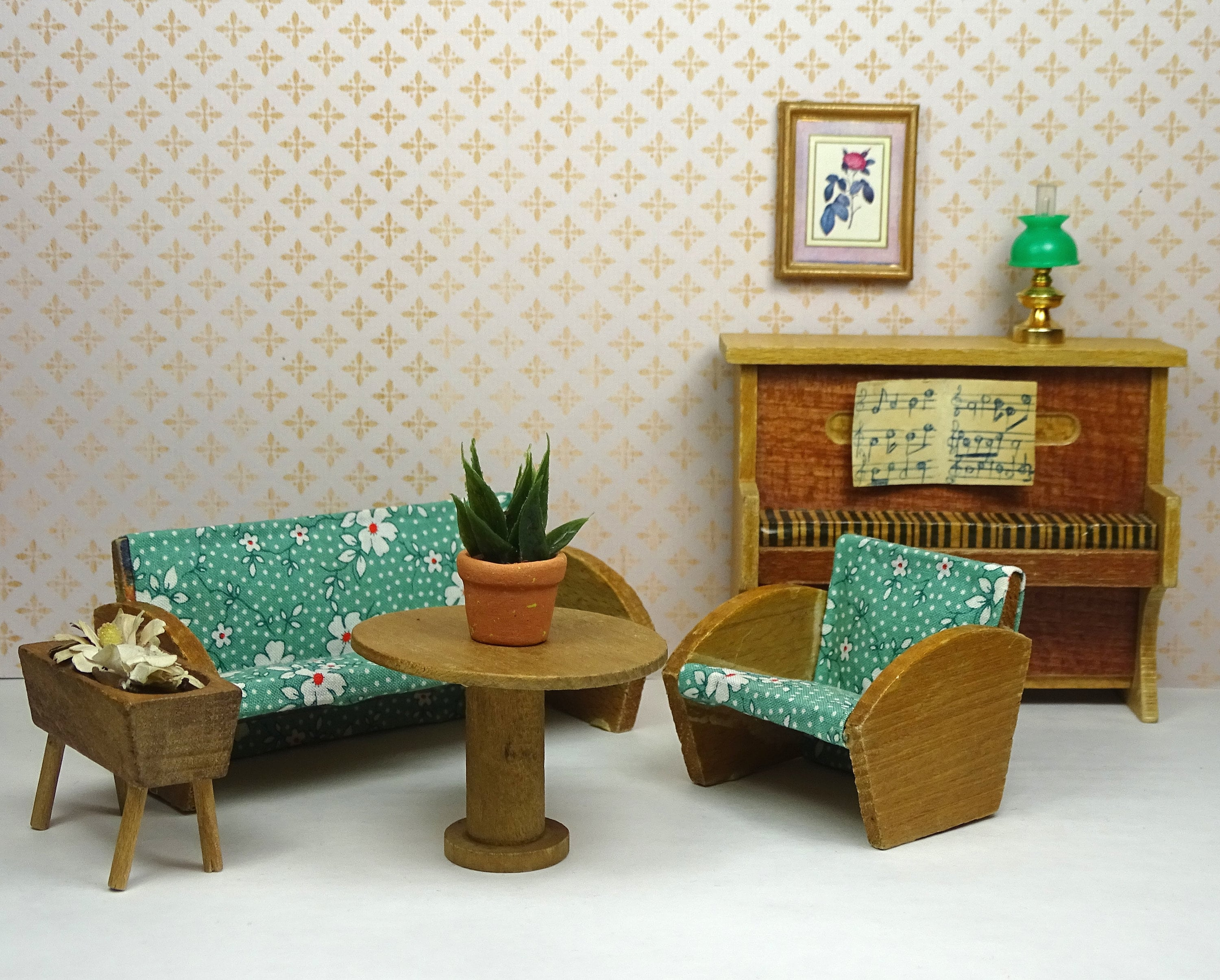 Dollhouse Vintage Living Room Set 1940s 1950s 1970s 1980s Wooden Furniture  Floral Green