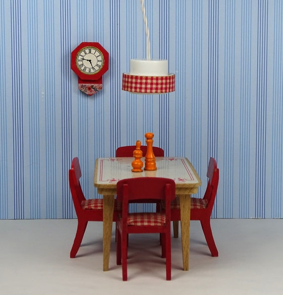 Dollhouse vintage dining room set Lundby 1960s 1970s furniture gingham red  white