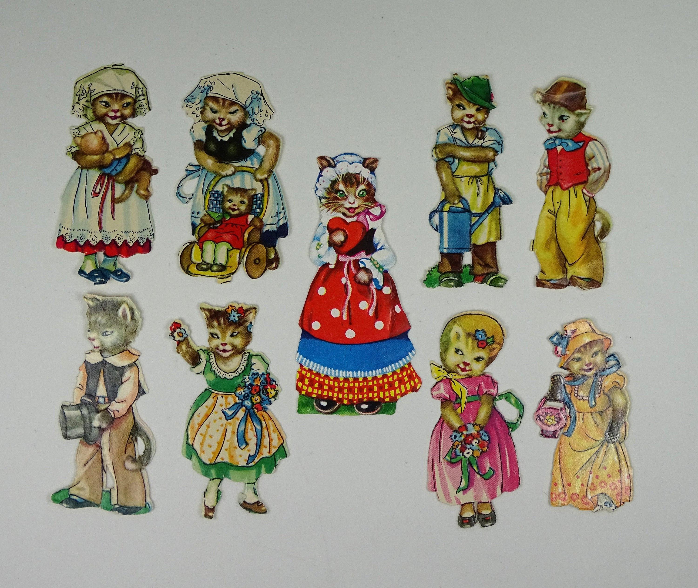Vintage paper scraps girls poppy strawberry 1970s die-cut embossed set of 2