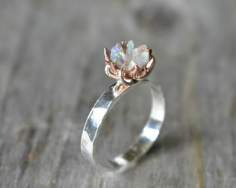 Unique Fire Opal Ring, Custom Uncut Opal Promise Ring, Lotus Flower Ring in Mixed Metals, Rose Gold and Sterling Wide Hammered Band, Artisan