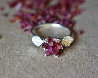 Rough Ruby Ring, Sterling Silver and Ruby Ring with Leaves, 40th Wedding Valentines Theme Gifts, Women's July Birthstone, Red Rose Jewelry