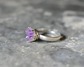 Raw Amethyst Ring, Custom Amethyst Crystal Jewelry, February Birthstone Jewelry, Valentines & Birthday for Wife, Present for Daughter