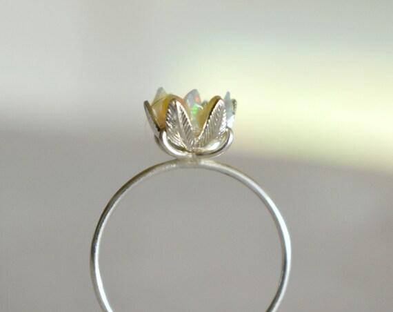 Lotus rings gemologies custom uncut opal ring lotus flower ring in opal and sterling silver october birthstone izmirmasajfo