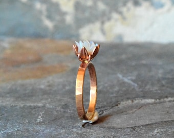 Unique Opal Ring, Custom Uncut Opal Engagement Ring, Lotus Flower Ring in Rose Gold, Raw RoughFire Opal Jewelry for Women, Birthstone Rings