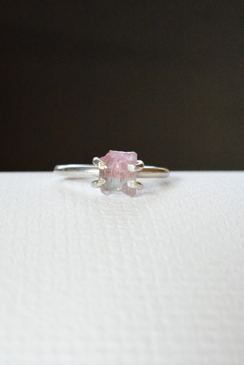 Watermelon Tourmaline Crystal Ring 7 Sterling Silver With Pink and Green Gemstone Crystal Anniversary Theme Prong Stacking Ring Design