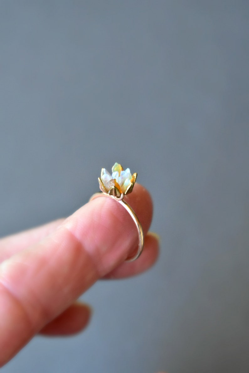 Unique Opal Ring Lotus Flower Ring In Yellow Gold Uncut Opal Etsy