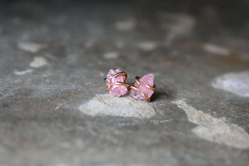 a8d580e00 Tiny Crystal in 14K Rose Gold Fill Studs Pink Tourmaline | Etsy