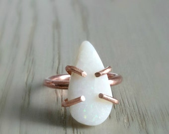 Raw White Opal Ring, Rough Opal Jewelry, Bridal White, Wifes Birthday Gifts, October Birthstone Ring, Birthday Ring Size 5, Girlfriend Ring