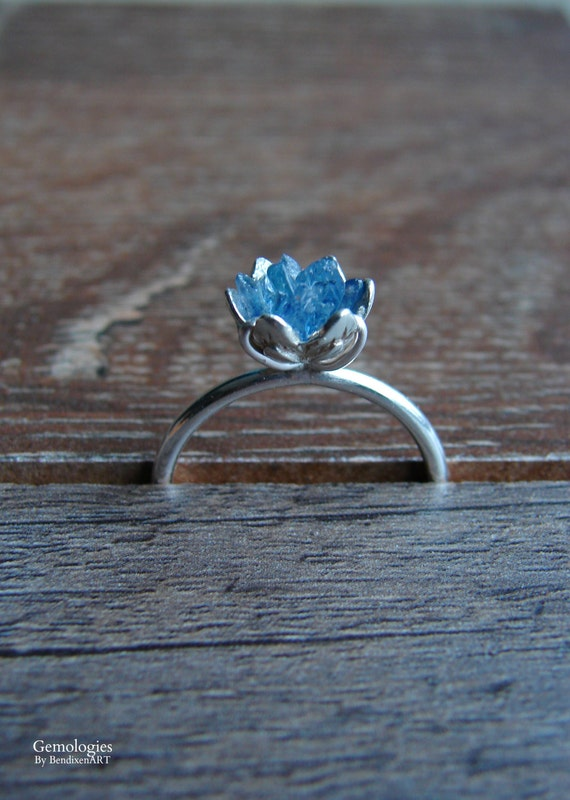 144a814294c22 Rough Sapphire & Sterling Silver Ring, Luxury Gift for Woman, September  Birthstone Ring, Lotus Flower Ring, Blue Gemstone Ring for Wife