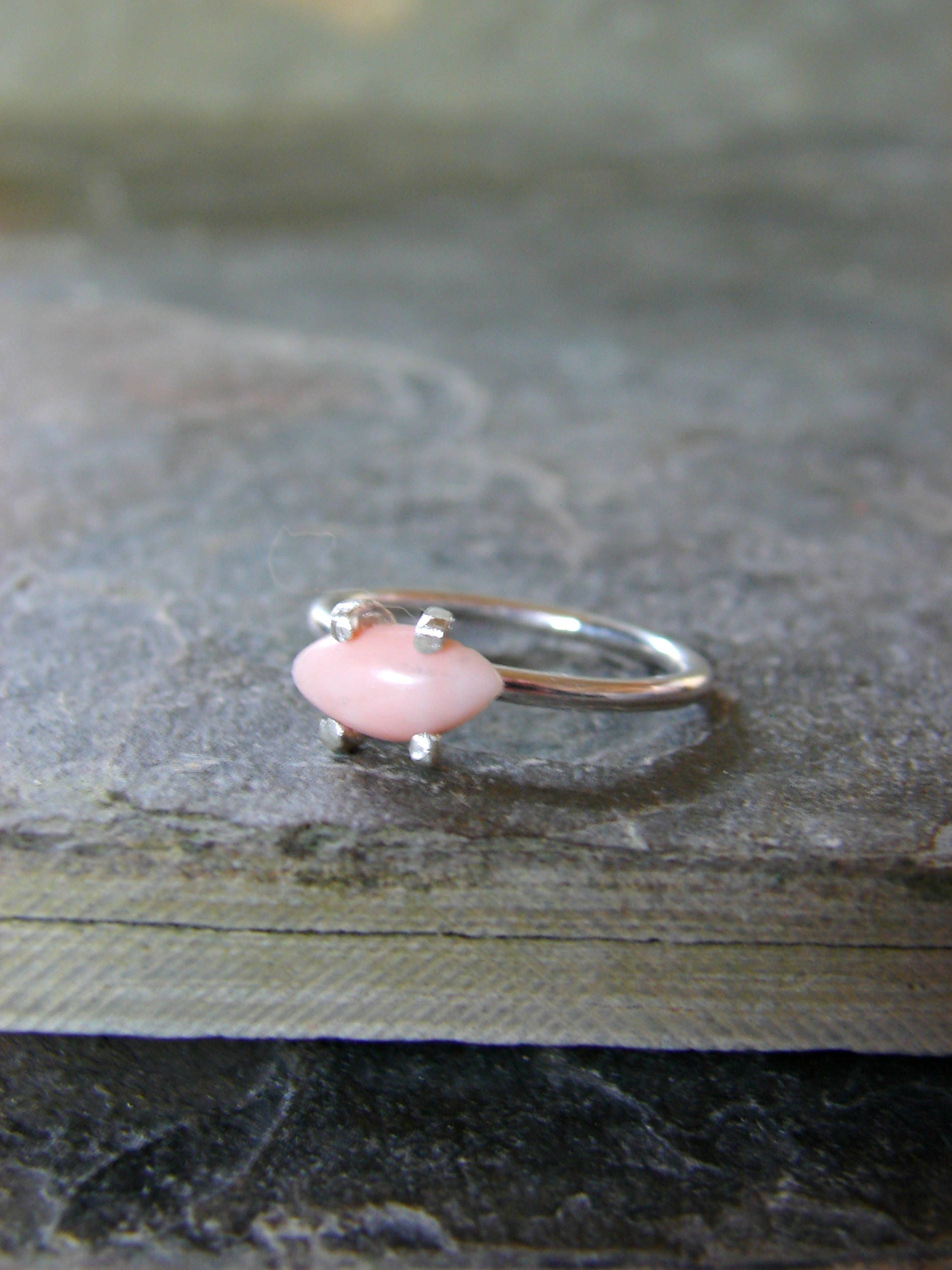 Coral Ring Beach Stone Jewelry 35th Wedding Anniversary Gift For