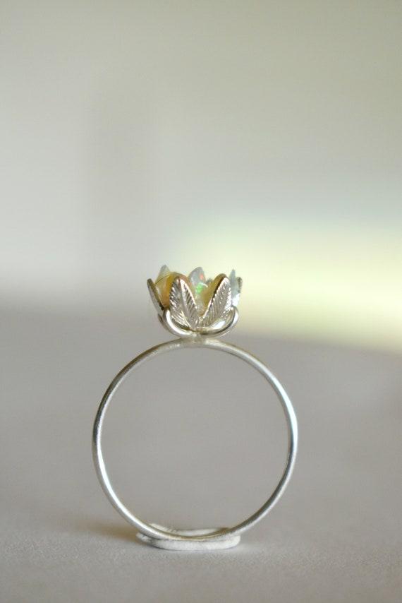 Custom Uncut Opal Ring Lotus Flower Ring In Opal And Sterling Etsy
