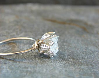Raw Herkimer Diamond Ring, Wedding Day Her, Raw Crystal Ring for Her, Engagement Ring, Wife Valentines, Girlfriend Gift