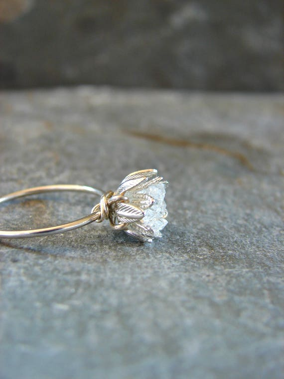 Raw Herkimer Diamond Ring Wedding Day Her Raw Crystal Ring