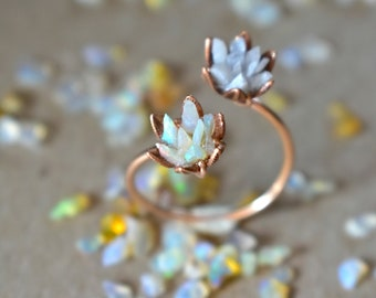 Unique Opal Ring in 14K Rose Gold, Best Multiple Gemstone Engagement Ring, Double Lotus Flower Cuff Ring, Custom Mothers Ring You Choose Gem