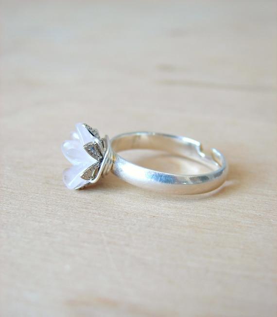 Raw Rose Quartz Crystal Ring Natural Crystal Jewelry Bridal Etsy