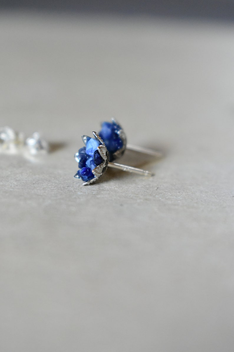 fbfe8c7b4 Sapphire Earrings Uncut Sapphire Studs Lotus Flower Design   Etsy
