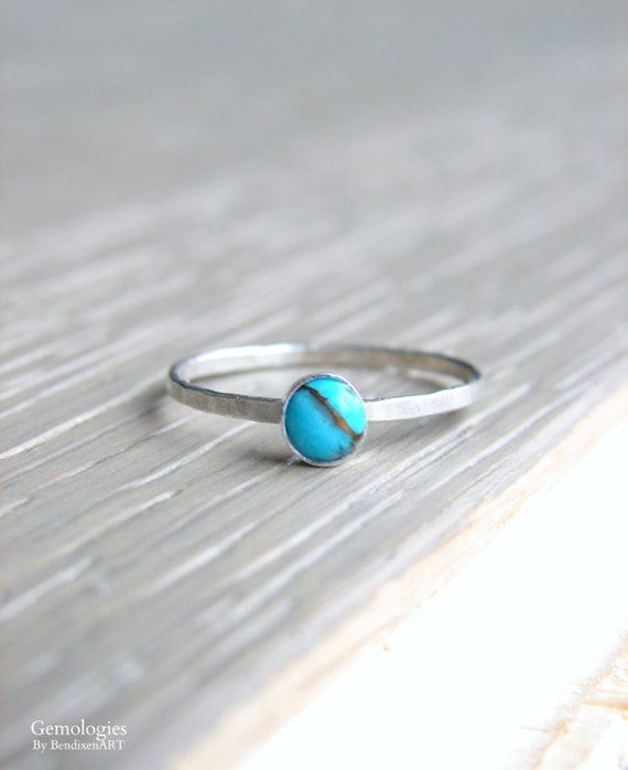 Gemstone Turquoise December Birthstone Ring Sz 7.75 Solid Sterling Silver Jewellery Gift