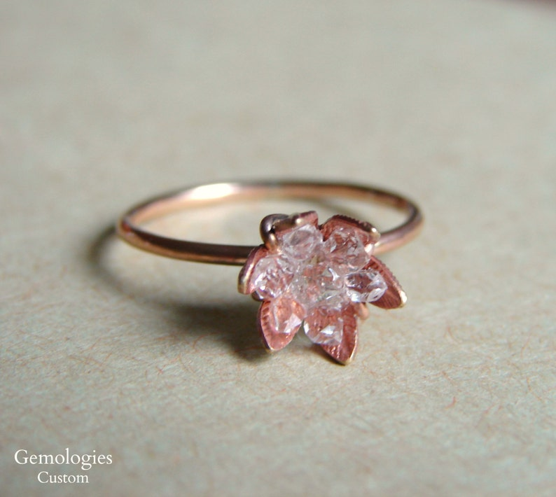 Raw Herkimer Diamond Ring On Rose Gold Band Crystal