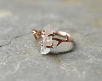 Deer Antler Ring in Rose Gold Tone and Angel Aura Quartz, Tree Bark Branch Band for Fairy Jewelry, Custom Metaphysical Crystal Jewelry