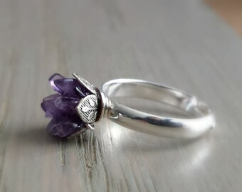 Raw Amethyst Ring, Natural Stone Jewelry, Trending on Etsy, Girlfriend Gift, Anniversary & Birthday for Wife, Present for Daughter
